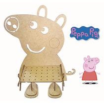 Piruliteiro Peppa Pig E George Pig- Mdf Crú - Fabrício Laser
