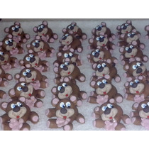 10 Lembrancinhas Ursinho E Ursinha Marrom E Rosa Em Biscuit