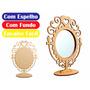 Moldura Espelho De Mesa - Mdf Crú - Festa - Com O Espelho