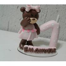 Vela Ursinha, Topo De Bolo Biscuit Infantil, Aniversario