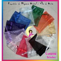 Saquinho Organza Cristal C/ Fita Cetim 8cmx12cm Pcts C/12 Un