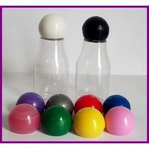 100 Garrafinha De Plástico 30ml Tampa Bola Monange Colorida