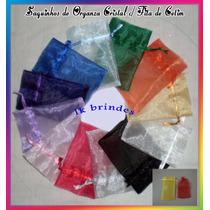 Saquinho Organza Cristal C/ Fita Cetim 8cmx12cm Pcts C/20 Un