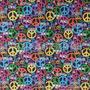 Lenço Bandana Colorida Peace Paz Amor Hippie Algodão 55x55cm