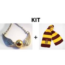 Cachecol Grifinória + Colar Pomo De Ouro Harry Potter
