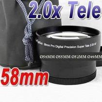 Lente Tele Objetiva 2x 58mm 55mm 52mm 49mm Sony Canon Nikon