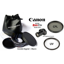 Kit 67mm Canon T3i T5i 60d 70d Grande Angular Macro Uv Cpl