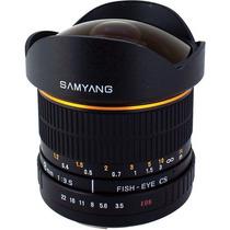Obj. Samyang 8mm 3.5 P/ Canon Eos - Fish Eye (olho De Peixe)
