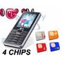 Celular A395 Lg 4 Chips Original Camera Mp3 Bluetooth 4 Sim
