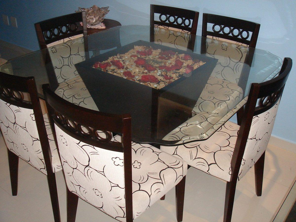 linda mesa de jantar de madeira e vidro 8 lugares 16814 MLB20126919276  #4B6A80 1200x900