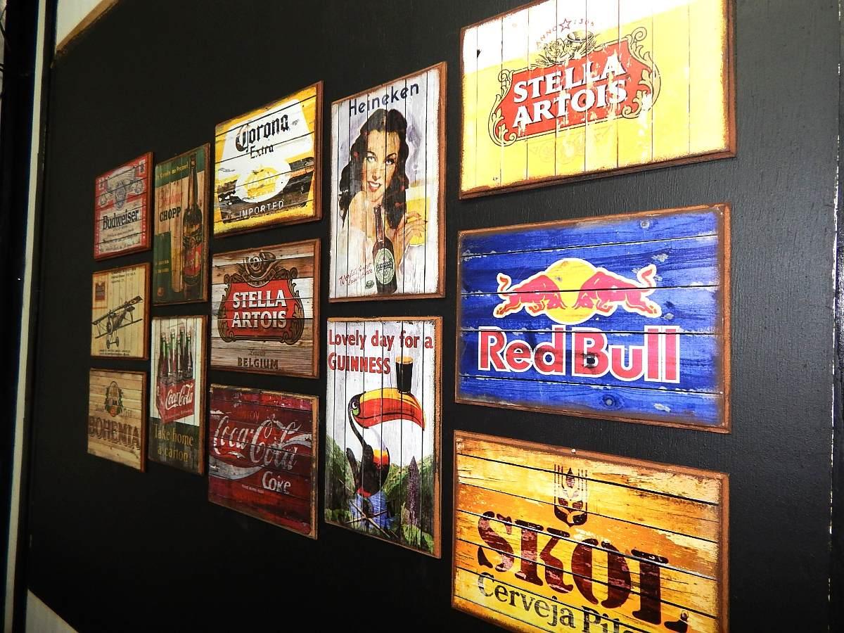 decoracao de sala retro:Lindos Quadros Decoração Retro Vintage Cervejas Bar Sala Rio – R$ 15