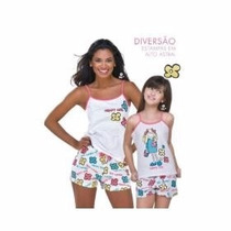 Pijama Short Doll Girl Flor Demillus Extra Grande