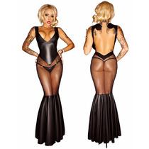 Lingerie Sexy Body Vestido Em Vinil Gotico Sado C211