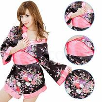 Lingerie Sexy Kimono Japones Em Cetim C191