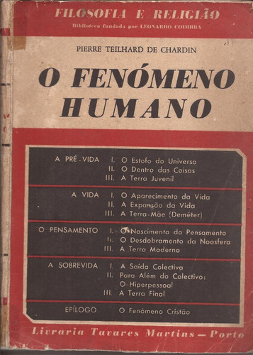 Livro O Fenomeno Humano-pierre Teilhard De Chardin 1970