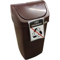 Lixeira Plastica 50 Litros Marrom Com Adesivo Lixo Organico