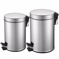 Kit 2 Lixeira Aço Inox 5l E 3l Cozinha Casa Banheiro Limpeza
