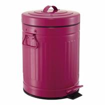 Lixeira Lixo Rosa Pink Ferro Com Pedal Tampa Alça 12 Litros