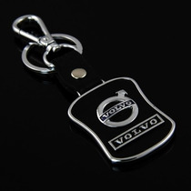 Chaveiro Volvo Liga De Metal E Couro Preto