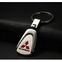 Chaveiro Mitsubishi Aço Cromado E Prateado Em Lingueta - Top