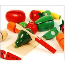Brinquedos Cozinha De Madeira Colorido Cut Educativo 13 Pcs