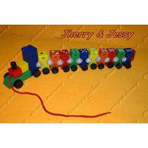 Brinquedo Educativo Trem De Madeira Com Números