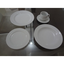 Jogo Jantar E Chá 30 Peças Porcelana Schmidt Branco