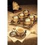 Luxo Motivo Otomano Jogo De Café - Prata Tdr1051
