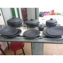 Jogo De Jantar Serve 5 Pessoas Panela Prato Pimenteira Barro