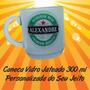 Caneca Vidro Jateado 300ml Personalizada Do Seu Jeito