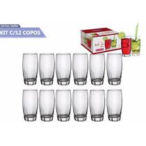 Kit C/12 Copos De Vidro 340ml P/ Suco, Agua, Refrigerante