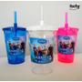 Kit 50 Copos Acrílico Disney Frozen Tampa E Canudo Espiral