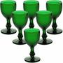 Jogo 6 Taças Bico De Jaca Copo Vidro Verde 234ml Para Água