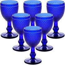 Jogo 6 Taças Bico De Jaca Copo Vidro Azul 234ml P Água Vinho
