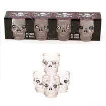 Conjunto 4 Copos Shot Drink Vidro Caveira Mexicana