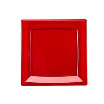 Prato Quadrado Crystal Line Vermelho 21x21cm Festa