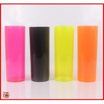 Kit Com 100 Copos Acrílico Long Drink 350ml Cores Sortidas