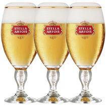 3 Cálice Taça Copo Stella Artois 250ml Cerveja+ Caixa+ Nota