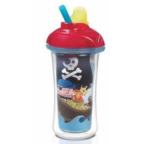 Copo Infantil Térmico Com Canudo Sippy Azul Pirata Munchkin