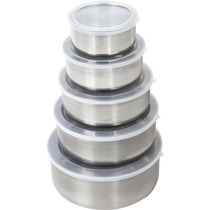 Potes Inox Com Tampa Plástica 5 Peças