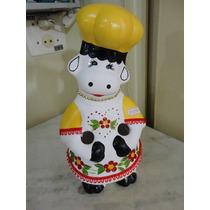 #14599 - Porta Colher Pau Vaquinha Cerâmica Decorada Amarela