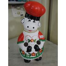 #14600 - Porta Colher Pau Vaquinha Cerâmica Decorada Laranja