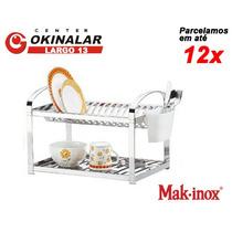 Escorredor De Louças 20 Pratos Inox + Porta Talher Makinox