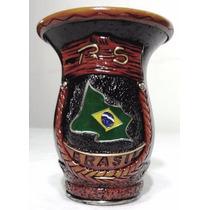 Cuia Chimarrão Artesanal Com Argola Inox Brasil Art Spall
