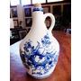Antigo Garrafão Louça Branca E Azul Floral Estilo Alcobaça