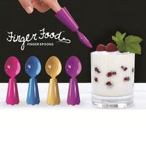 4 Colheres De Dedo Finger Food Coloridas 3x2 Cm Urban