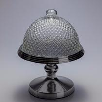 Prato Para Bolo De Aluminio Com Pe E Tampa De Vidro R 6174
