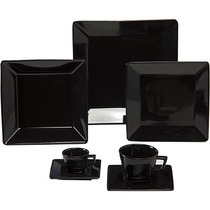 Kit 42 Pratos Raso Quadrado Preto Quartier Oxford Porcelanas