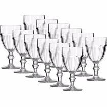 Jogo 12 Taças P/ Água Vinho Vidro Transparente Country 420ml