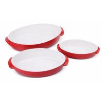 Kit De Jantar 3 Tigelas Porcelana Oval Vermelha Branca Mesa